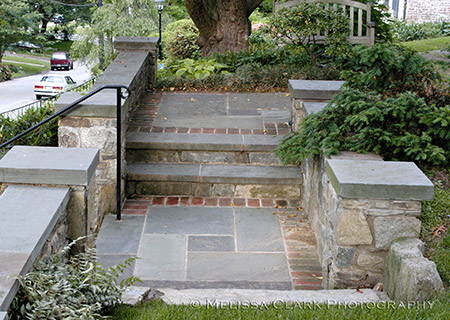 how to build flagstone steps on a hill