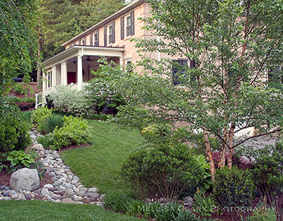 Dry streambed, landscape design
