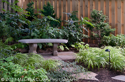 Lynne Church Landscape Design, garden bench, stone bench