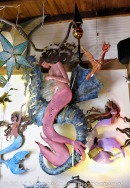Indoor mermaids and seahorses add more whimsy to the store.