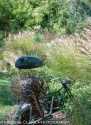 "The architectural elements of a motorcycle ""creature"" contrasts with flowing grasses."