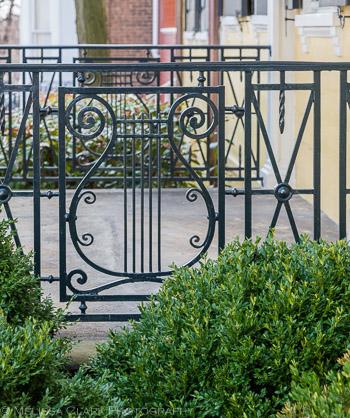 ornamental ironwork, railings, Georgetown gardens
