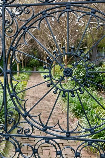 ornamental ironwork, garden gates, Charleston gardens