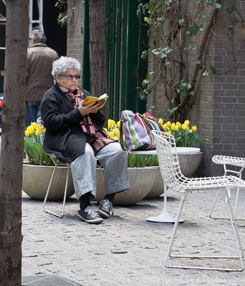 A woman enjoys a quiet moment in Paley Park to catch up on her reading.