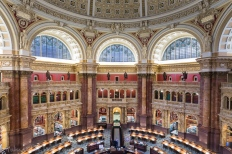 A view from the gallery of the Reading Room.