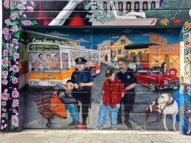 More thought-provoking murals about the effects of gentrification . . .