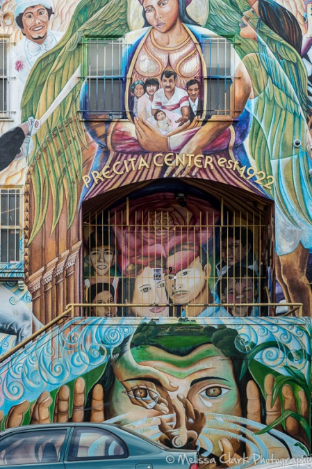 The Precita Valley Community Center is covered with a three-story mural