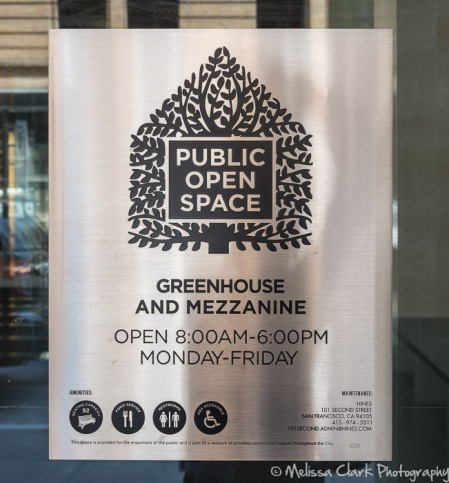 A 'Public Open Space' notice at 101 Second Street in San Francisco. Note that open hours are specified since this is interior space in a building.