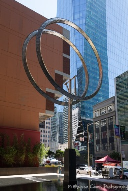 Public art - a slowly moving set of giant wheels.